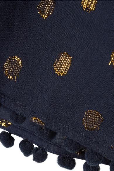 Figue Maja Shorts aus Voile aus einer Baumwollmischung mit Fil Coupé und Pompoms
