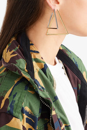 Triangle silver and gold-plated earrings