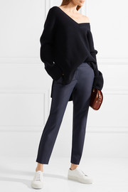 Thaniel cropped stretch cotton-blend twill slim-leg pants