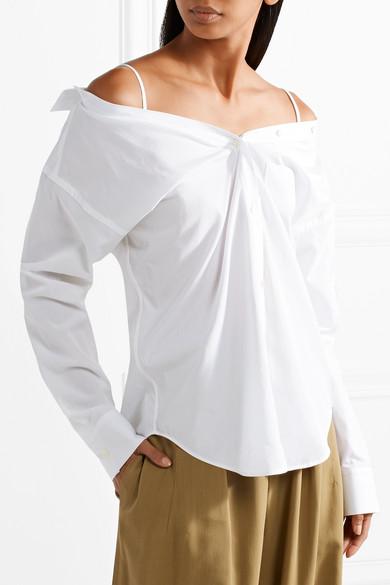 Theory Tamalee schulterfreies Hemd aus Baumwollpopeline