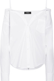 Tamalee off-the-shoulder cotton-poplin shirt
