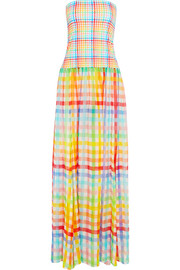 Marianna strapless gingham cotton-jersey and silk-chiffon dress