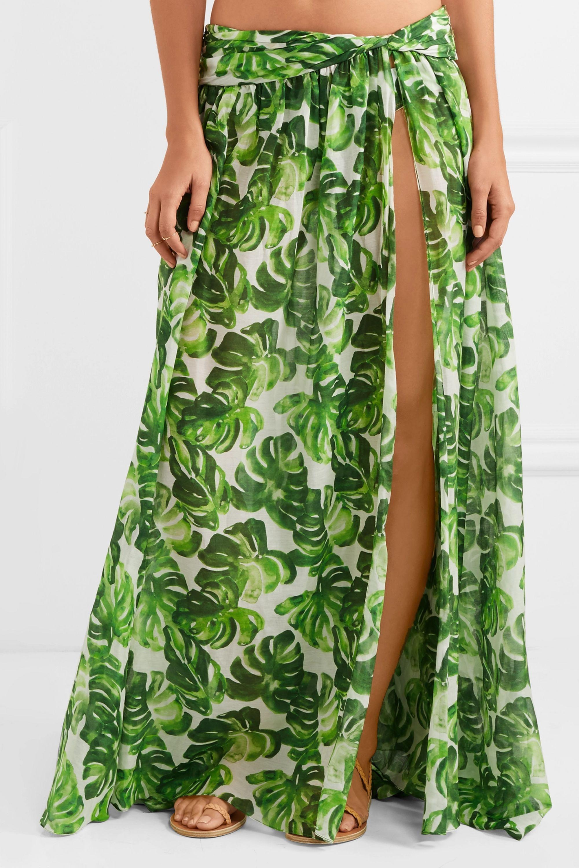 Caroline Constas Hera printed cotton and silk-blend voile skirt