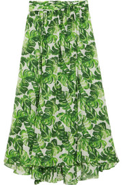 Hera printed cotton and silk-blend voile skirt