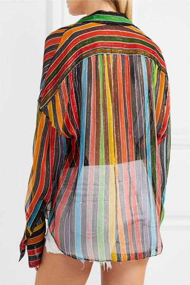 Caroline Constas Jetset gestreiftes Hemd aus Seidenchiffon mit Metallic-Effekt