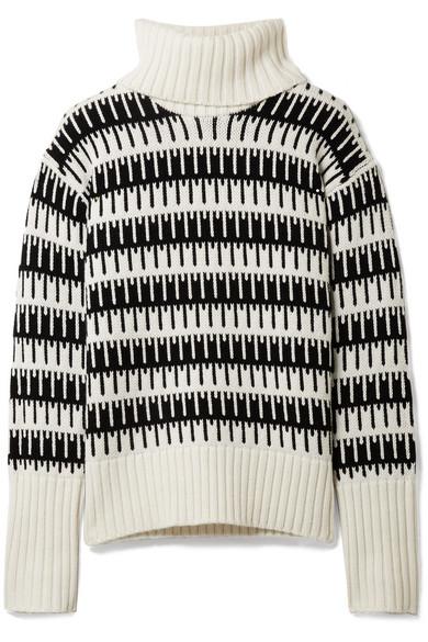 Theory - Wyndora Intarsia Wool And Cashmere-blend Turtleneck Sweater - Ivory