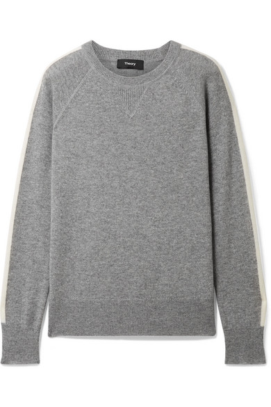 Theory - Athletic Striped Cashmere Sweater - Gray