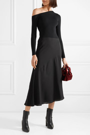 Theory Paneled ribbed-knit and silk-georgette midi dress