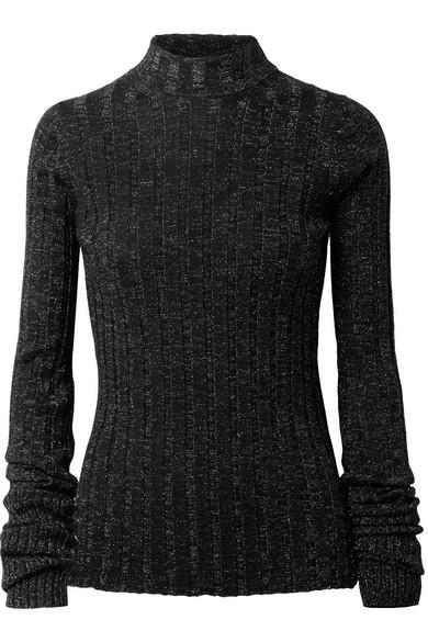 Theory - Metallic Ribbed Merino Wool-blend Turtleneck Sweater - Black