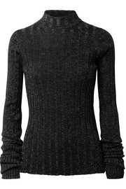 Metallic ribbed merino wool-blend turtleneck sweater