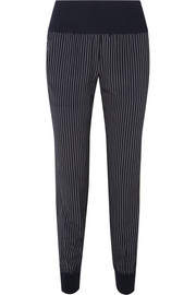 Theory Jersey-trimmed pinstriped silk crepe de chine track pants