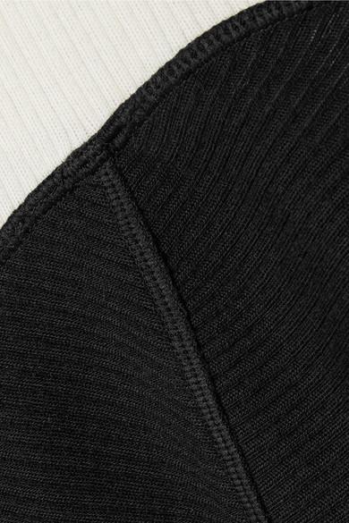 Theory Zweifarbiger Rollkragenpullover aus einer gerippten Wollmischung