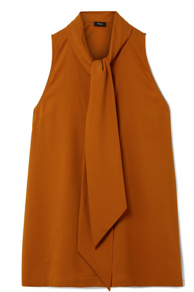 Theory - Pussy-bow Silk-blend Crepe Top - Orange