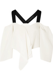 Roland Mouret Knit-trimmed silk crepe de chine cold-shoulder top