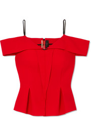 Roland Mouret Cold-shoulder wool-crepe top