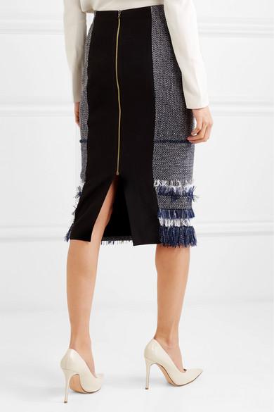 Roland Mouret Rock aus Bouclé-Tweed aus einer Baumwollmischung und Crêpe