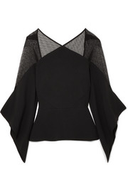 Roland Mouret Lace-paneled stretch-crepe blouse