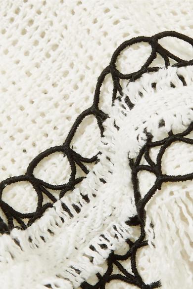 Roland Mouret Jacke aus Baumwoll-Tweed mit Besätzen aus schnurgebundener Spitze, Fransen und Schößchen
