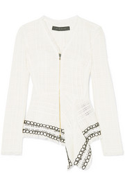 Roland Mouret Corded lace-trimmed frayed cotton-tweed peplum jacket