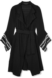 Roland Mouret Millington fringed woven cotton coat
