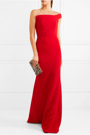 One-shoulder wool-crepe gown