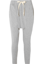 Cropped organic cotton-jersey track pants