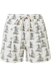 Printed stretch cotton-poplin shorts