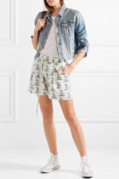 Bassike Bedruckte Shorts aus Stretch-Baumwollpopeline