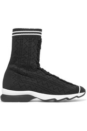 Perforated stretch-knit sneakers