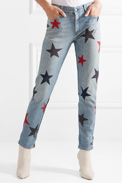 Stella McCartney Schmal geschnittene Boyfriend-Jeans mit Print
