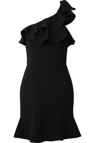 Rebecca Vallance St Barts Minikleid aus Crêpe mit asymmetrischer Schulterpartie und Rüschen