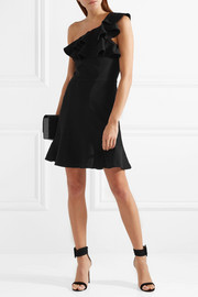 St Barts one-shoulder ruffled crepe mini dress