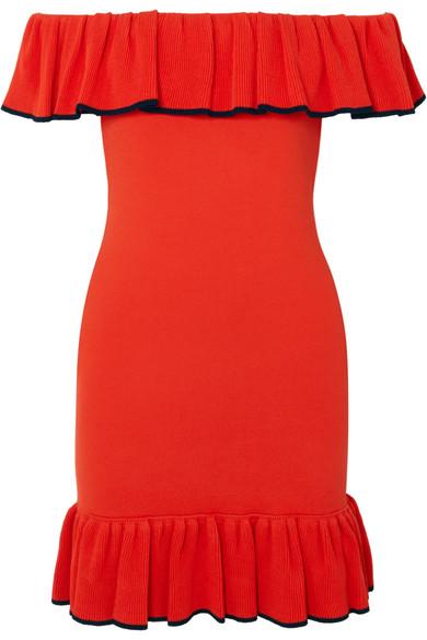 Rebecca Vallance Capri schulterfreies Minikleid aus Stretch-Strick mit Rüschen
