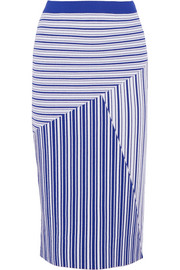 Corsica striped stretch-knit midi skirt