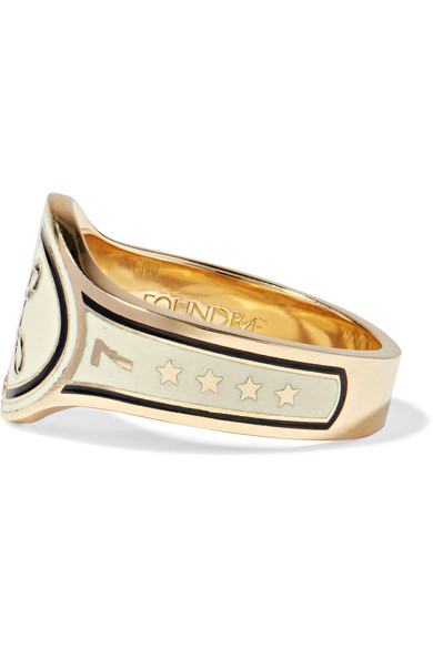 Foundrae True Love 18-karat Gold, Diamond And Enamel Ring