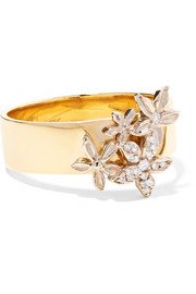 Cuban ID 18-karat gold diamond ring
