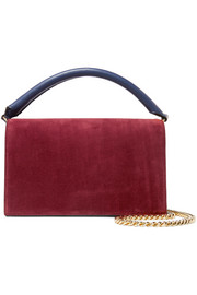 Soirée color-block suede and leather shoulder bag