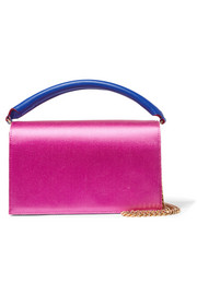 Soirée color-block satin and leather shoulder bag