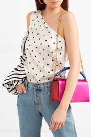 Diane von Furstenberg Soirée color-block satin and leather shoulder bag