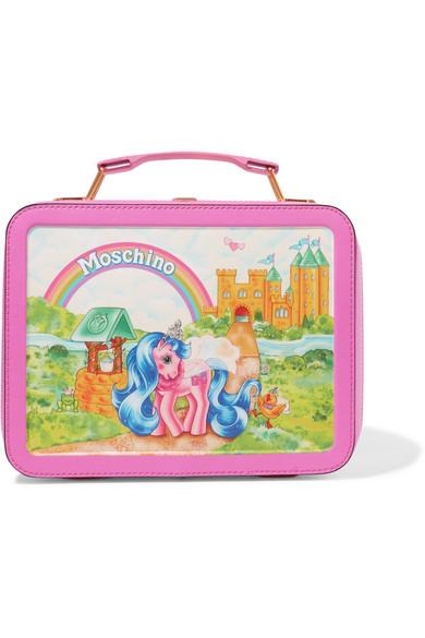 Moschino + My Little Pony Lunchbox Schultertasche aus bedrucktem Leder