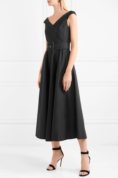 Beste Michael Kors Collection Baumwollkleid mit Stretch-Anteil und Gürtel Billig Verkauf Zu Kaufen Bekommen HofHOJYMC