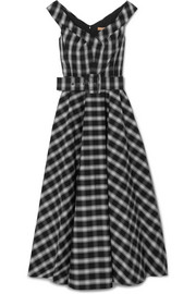 Belted checked cotton-blend poplin midi dress