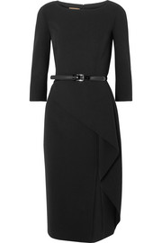 Origami belted draped wool-blend crepe dress