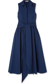 Michael Kors Collection Belted stretch-cotton poplin midi dress