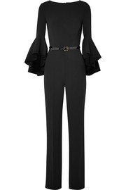 Belted wool-blend crepe jumpsuit