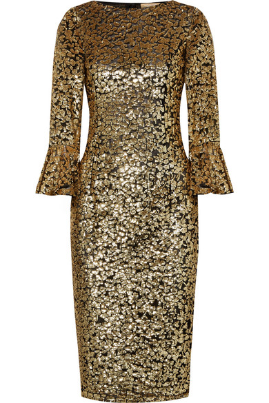 Michael Kors Collection - Sequinned Tulle Midi Dress - Gold