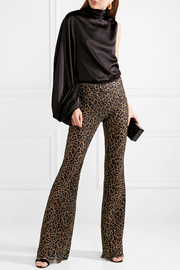Metallic corded lace flared pants