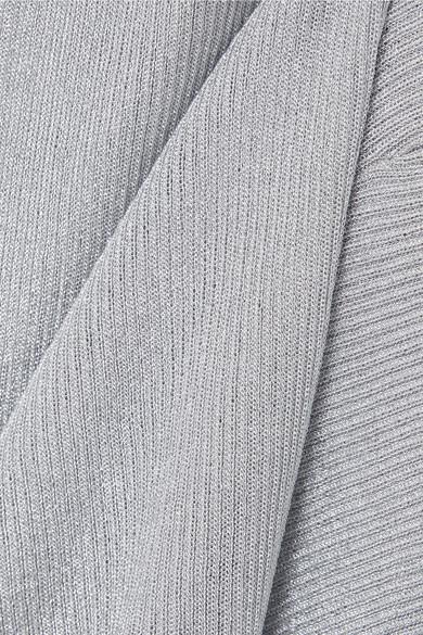 Michael Kors Collection Rippstrickpullover in Metallic-Optik Classic Günstig Online Billig Perfekt Factory-Outlet-Verkauf uXa68