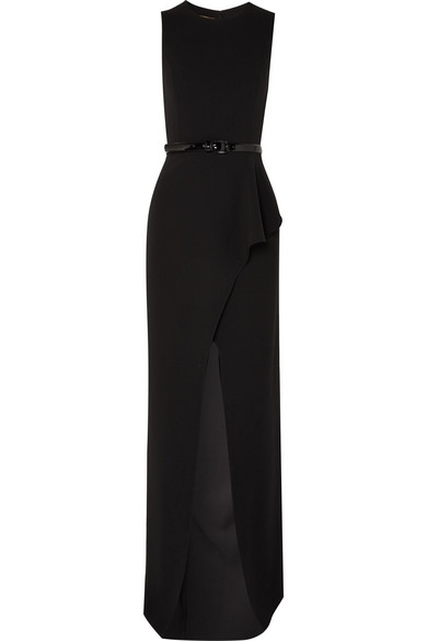 Belted ruffled wool-blend crepe gown