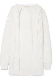 Michael Kors Collection Ribbed merino wool and cotton-blend hooded cardigan